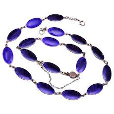 Sterling and Blue Enamel Necklace and Bracelet Set