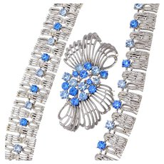 Blue Coro with Pegasus Necklace, Bracelet and Brooch Set