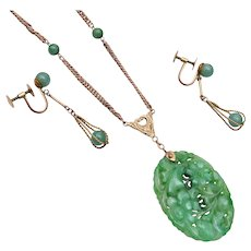 14kt Gold and Jade Necklace and Earrings With Appraisal