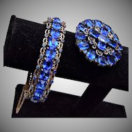 Beautiful Blue Rhinestone Hinged Bangle Bracelet and Brooch Set