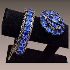 Beautiful Blue Rhinestone Hinged Bangle Bracelet and Brooch Set