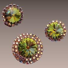 Rivoli Crystal Pendant and Earrings Set