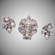 Eisenberg Rhinestone Brooch and Earring Set
