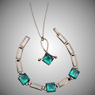 Simmons Gold Filled Green Stone Bracelet and Necklace Set
