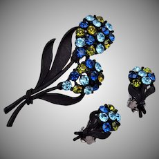 Blue and Green Flower Japanned Metal Set