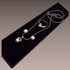 Bret Roberts Fresh Water Pearl Necklace, Pierced Earrings and Ring