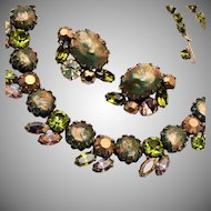 Regency Green Rhinestone Necklace and Earring Set