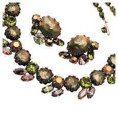 Regency Green Rhinestone Necklace and Earring Set