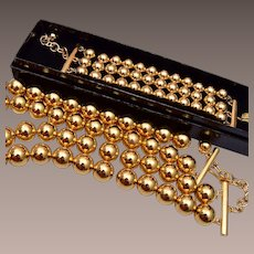 Joan Rivers Classic Collection Gold Tone Beaded Necklace and Bracelet
