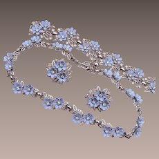 Trifari Pre 1955 Blue Flower Parure