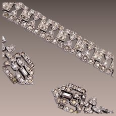 Art Deco Rhinestone Bracelet and Earring Set