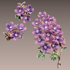 Purple Enameled Lilac Brooch and Earring Set