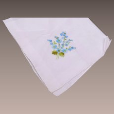 White Handkerchief with Blue Embroidered Flowers