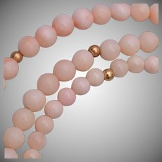 14kt and Angel Skin Coral Necklace and Bracelet Set
