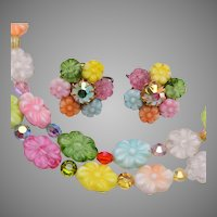 2 Strand Colorful Glass Flower Necklace and Earring Set