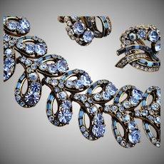 1955 Hollycraft Blue Bracelet and Earring Set