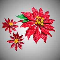 Red Christmas Poinsettia Brooch and Earring Set