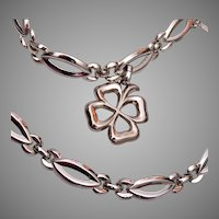 Monet 4 Leaf Clover Bracelet and Necklace Set