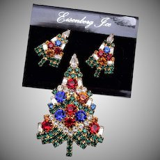 Eisenberg Ice Christmas Tree Brooch and Matching Pierced Earrings