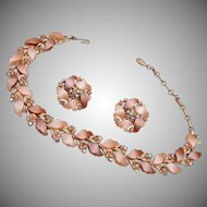 Lisner Thermoset Leaf Necklace and Earring Set