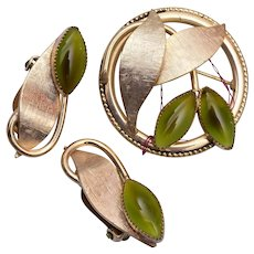 Whiting and Davis Green Givre Leaf Brooch and Earring Set