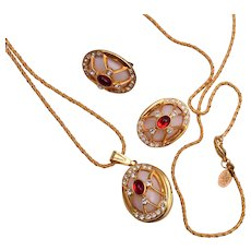 Joan Rivers Jeweled Egg Locket and Earring Set