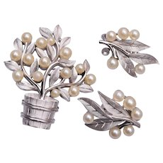 Trifari Silver Flower Pot with Faux Pearls Brooch and Earring Set