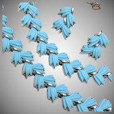 Blue Thermoset Leaf Parure