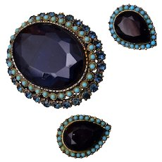 Large Blue Stone and Turquoise Brooch/Pendant and Earring Set