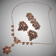 Brass and Marcasite Necklace Brooch and Dress Clips
