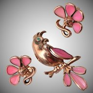 1950 Trifari Pink Poured Glass Bird Brooch and Earring Set