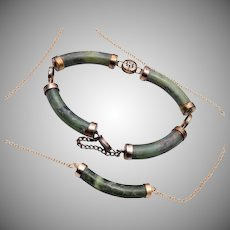 Green Soap Stone Oriental Bracelet and Necklace Set