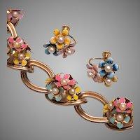Enameled Flower Bracelet and Earring Set