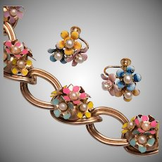 Enameled Flower Bracelet and Earring Set