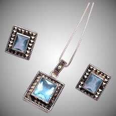 Sterling, Marcasite and Aqua Marine Stone Necklace and Pierced Earrings