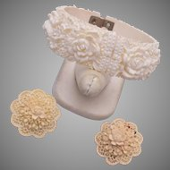 White Celluloid Clamper Bracelet and Earring Set