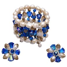 Vendome Blue Crystal and Faux Pearl Bracelet and Earring Set