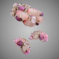 Hobe' Pink Flower Bracelet and Earring Set
