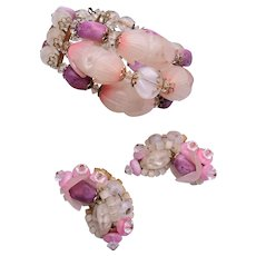 Hobe' Pink Flower Bracelet and Earring Set