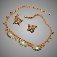 Green and Topaz Necklace and Earring Rhinestone Set