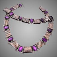 980 Taxco Sterling and Amethyst Necklace and Bracelet Set