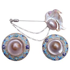 Chinese Sterling Filigree and Enamel Blister Pearl Pierced Set