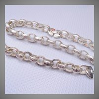 Hammered Metal Chain Necklace and Bracelet