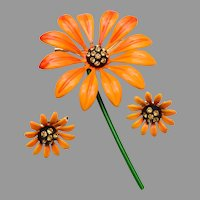 Orange Daisy Brooch and Earrings Set