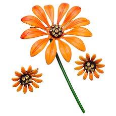 Orange Daisy Brooch and Earrings Set