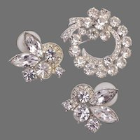 Eisenberg Ice Pierced Earrings and Brooch Set