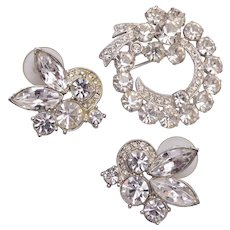 Eisenberg Ice Pierced Earrings and Brooch Set