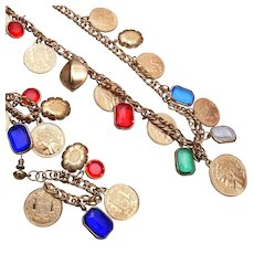 French Coins and Bezel Set Lucite Charm Necklace and Pierced Earrings