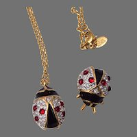 Joan Rivers Lady Bug Enameled Brooch and Necklace Set