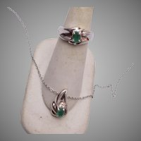Sterling and Emerald Necklace and Ring size 6-1/4